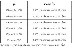 ราคา iPhone 5s, 5c, 4s ของดีแทค